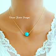 Turquoise Necklace 14K Gold Filled Bridesmaid Gift Wedding Bridal