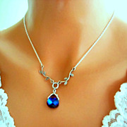 Blue Purple Necklace Victorian Style Heliotrope Antiqued Silver Branches Wedding Jewelry, Brid