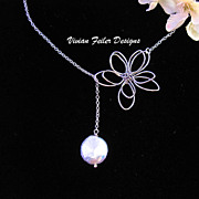 Pearl Necklace Flower Lariat Sterling Silver Bridesmaid Jewelry Mother�s Day Gift