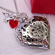Heart Pocket Watch Necklace Victorian Style Antiqued Silver plated Filigree