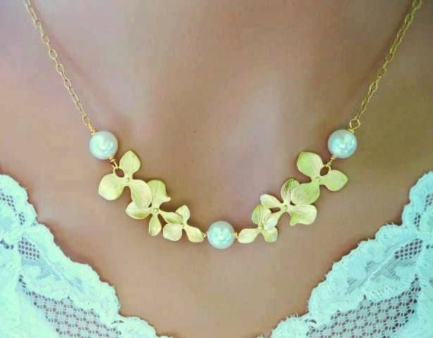 Orchid Necklace 14k Gold Filled Simulated Pearl  Wedding Bridal Bridesmaid