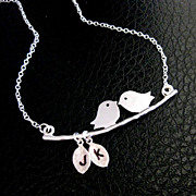 Love Birds Necklace With Custom Initials Sterling Silver Husband Wife Son Daughter Lovers Moth