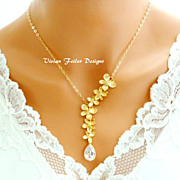 Wedding Necklace Orchid Cubic Zirconia Gold Bridal Bling