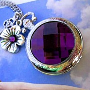 Purple Pocket Watch Necklace Silver Steampunk Flower