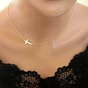 Sideways Cross Necklace Gold Filled Off Center