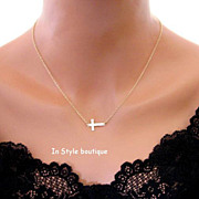 Sideways Cross Necklace Gold Filled Centered