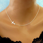Sideways Cross Necklace Off Center Side Cross Jennifer Lopez Necklace