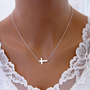 Sideways Cross Necklace Sterling Silver Centered Jennifer Lopez Necklace
