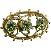 Czech Brass Brooch with Three Sparkling Yellow Rhinestones