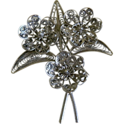 Silver Tone Filigree Floral Brooch