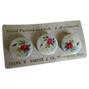 Hand Painted Porcelain Button Studs Frank W. Norton & Co., Minneapolis, Minnesota Late 1800's-