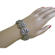 Lovely Silver Tone Filigree Bracelet 1930-50's