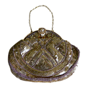 French Gold Sequin and Micro-Mini Gold Beaded Purse  Late 1930's-1940's