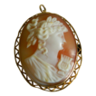 Vintage 10K Gold Carved Shell Cameo Filigree Pendant Italy 1910-1930