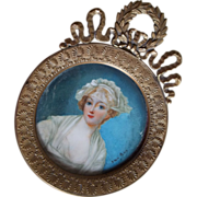 Antique Miniature Portrait on Ivory  Signed Jean Guy 19th Century Frame France