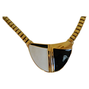 Vintage Trifari Necklace Gold Tone with Geometrical Design, Black and White 1970's