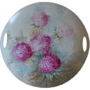 Pink Hydrangeas Eagle China Cake Plate Austria 1900-1920, Artist Signed