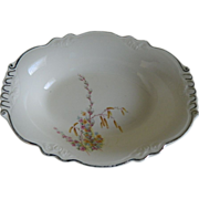 Homer Laughlin Virginia Rose Shaped, Pussy Willow Oval Bowl 1933, U.S.