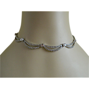 Art Deco Style Otis Sterling Silver Necklace with Rhinestones