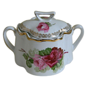Zeh, Scherzer & Co. Bavaria Rose Transferware Biscuit Jar 1880-1918