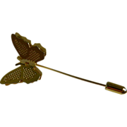 Lovely Gold Tone Butterfly Stick Pin 1980's