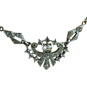 Elegant Silver Tone Victorian Revival Necklace with Clear Rhinestones 1950-1960's