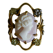 Charming Carved Cameo Brooch 1920's Signed JHP