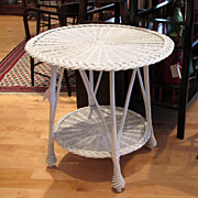 Round Vintage Wicker Table Painted White