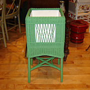 Vintage Wicker Fernery in Bright Green Paint