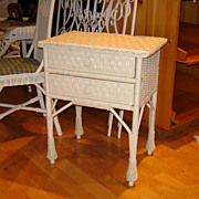 SALE Vintage Wicker Nightstand with Two Drawers