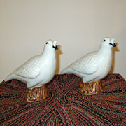 Pair of White Chinese Pottery Dove Figurines