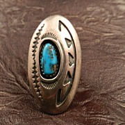 SALE Native American Turquoise and Sterling Silver Ring by J. Yellowhorse