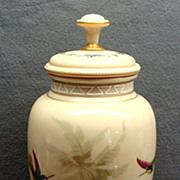 SALE Antique Bohemian Harrach Opaline Glass Lidded Urn With Enamel Painted Hummingbirds