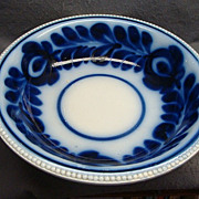 "13 1/2"" Staffordshire Flow Blue Brush Stroke Bowl Fern and Tulip"