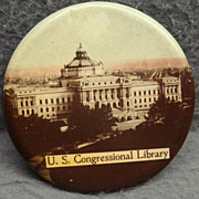 Vintage Pocket Mirror U. S. Congressional Library