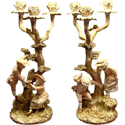 Victorian Royal Worcester James Hadley Figural Candelabrum Ca 1888