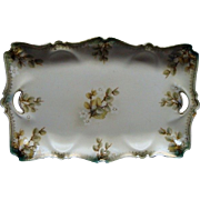 R S Prussia Serving Tray Tiffany Finish With Pussy Willows