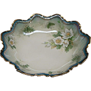 "SALE 10"" R S Prussia Bowl With White Christmas Flowers Dogwood And Pine"