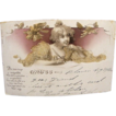 Rare German Greeting Postcard Dated 1900 Pretty Lady Beaded
