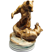 11 3/4&quot; Zsolnay Hungarian Fighting Bears Porcelain Figurine