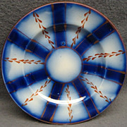 Flow Blue Gaudy Welsh Wagon Wheel Pattern Child's Plate 1