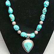 Native American Indian Sterling Silver and Turquoise Necklace Pendant