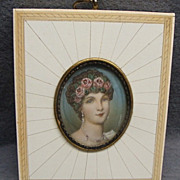 Antique Miniature Painting In Inlaid Frame Portrait Of Josephine