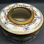 Antique French Hand Painted Sevres Porcelain Vanity Box