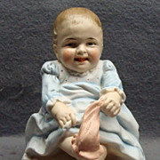 Victorian Figural Bisque Match Holder Baby Pulling His Sock Shafer & Vater