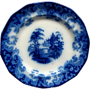 Staffordshire Flow Blue 7 1/2&quot; Columbia Pattern Plate Ca 1846 #2