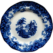 Staffordshire Flow Blue 7 1/2&quot; Columbia Pattern Plate Ca 1846 #3