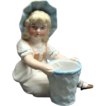 Victorian Figural Bisque Toothpick Holder Young Girl With Basket Shafer & Vater