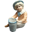 Victorian Figural Bisque Toothpick Holder Young Boy With Basket Shafer & Vater