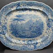 19&quot; Romantic Staffordshire Transferware Platter Tyrolean Ca 1830